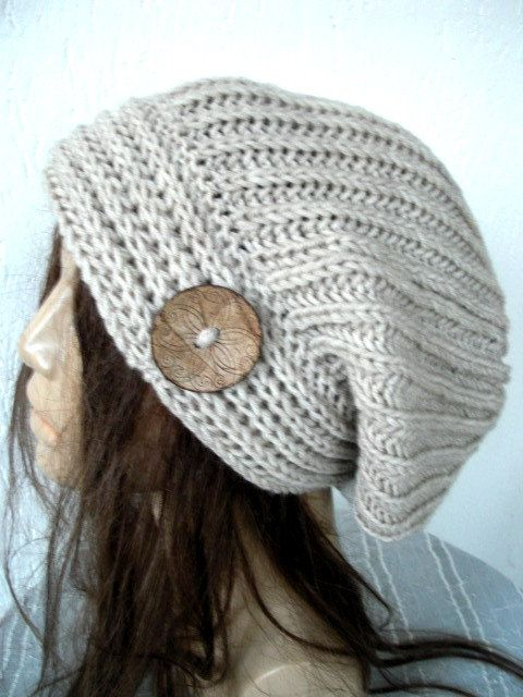 Hand Knit Hat Womens Hat with button Chunky Knit by Ebruk, $38.00