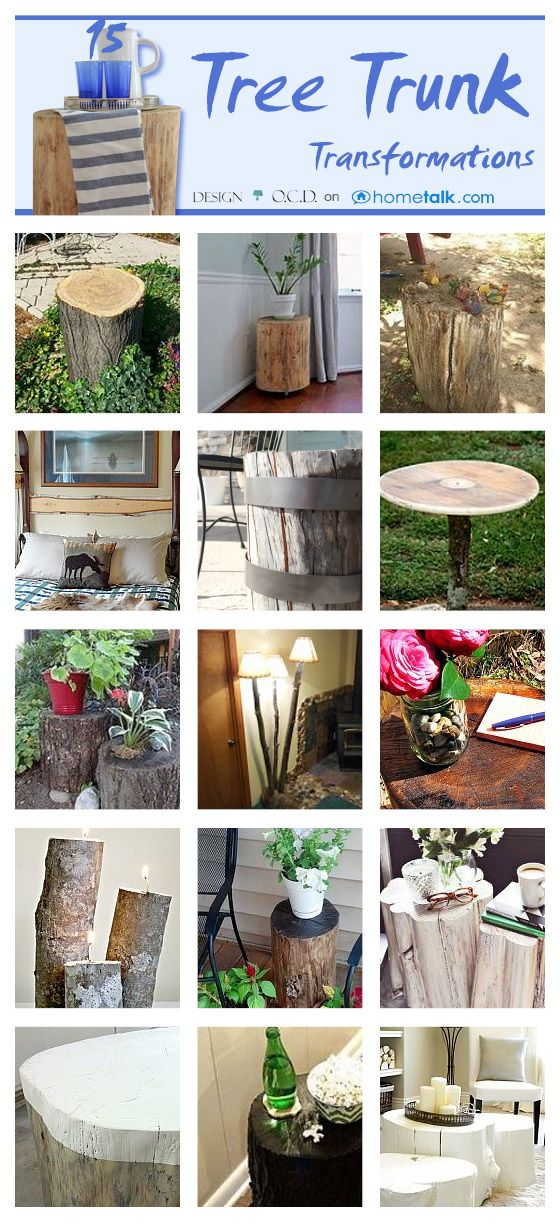 15 Brilliantly Creative Tree Trunk Transformations! | by 'Design OCD' blog {Home Decor, Gardening, Outdoors}