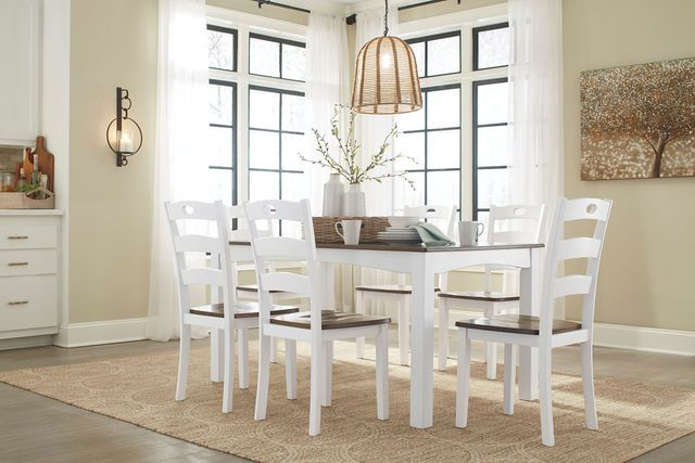 Woodanville White Brown 7 Pc Dining Set Brown Dining Room Table Ashley Furniture Dining Dining Room Table Set Cottage retreat dining room furniture
