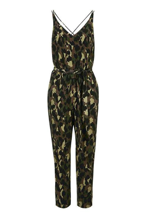 PETITE Camo Print Belted Jumpsuit