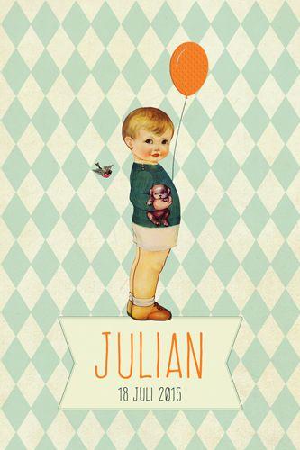 Geboortekaartje jongen - Julian - retro - Pimpelpluis - https://www.facebook.com/pages/Pimpelpluis/188675421305550?ref=hl (# retro - vogel - dieren - ventje - ballon - vintage - paper doll - lief - schattig - origineel)