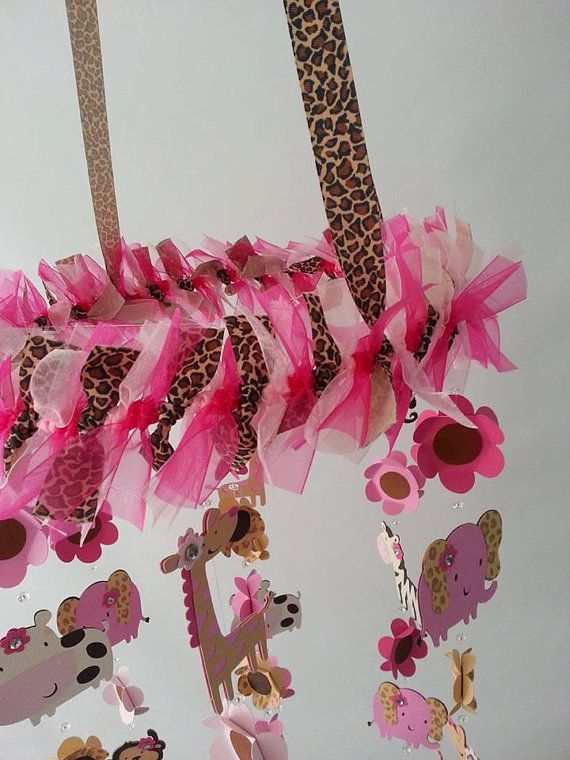 Jungle Animal Baby Mobile Cheetah Print Pink and by magicalwhimsy,