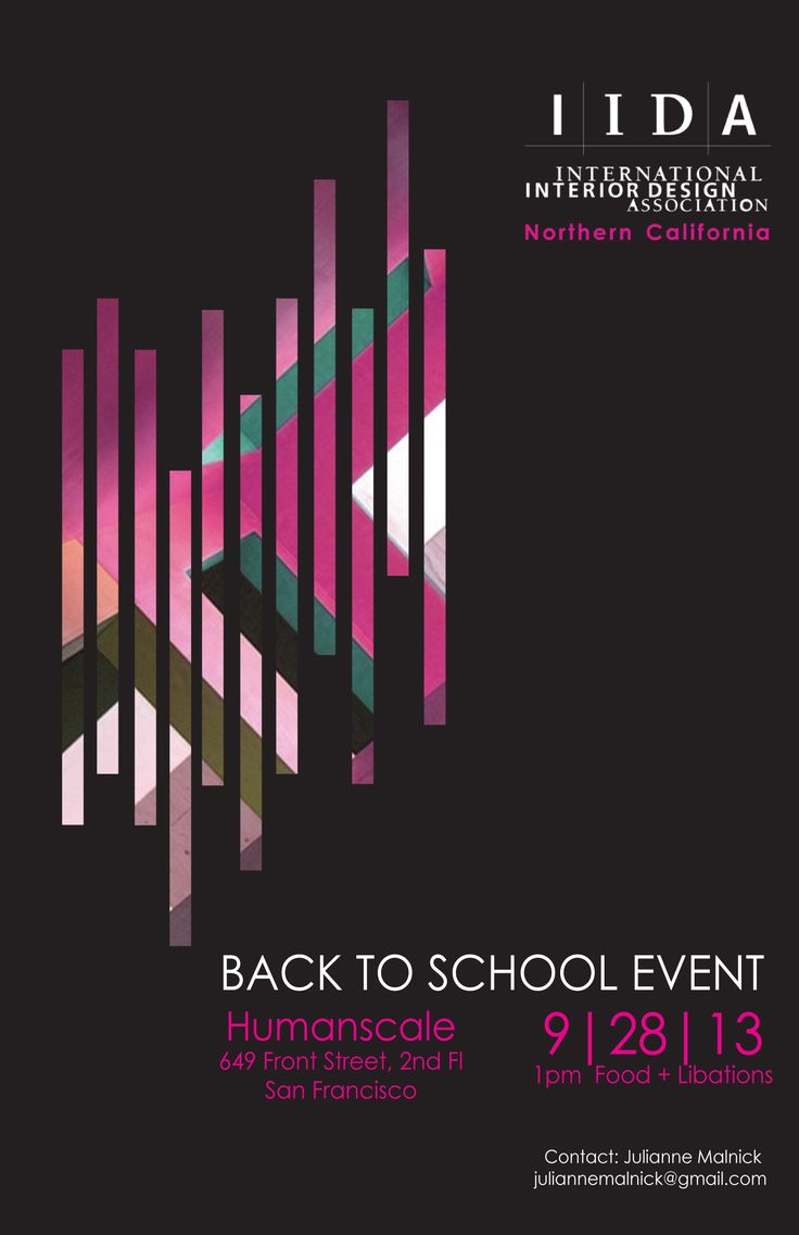 IIDA Back To School Event Poster, designed by Julianne Malnick