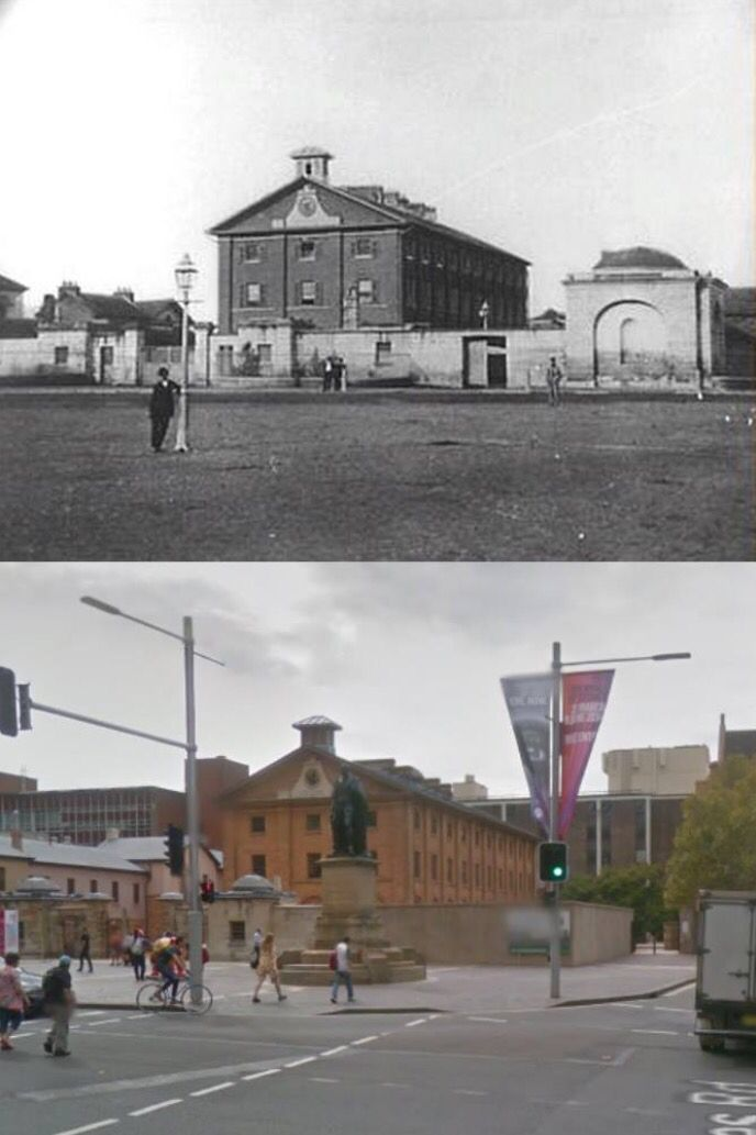 Sydney's Hyde Park Barracks 1880>2014. [1880 - City of Sydney Image Library/2014 - Google Street View. By Phil Harvey]