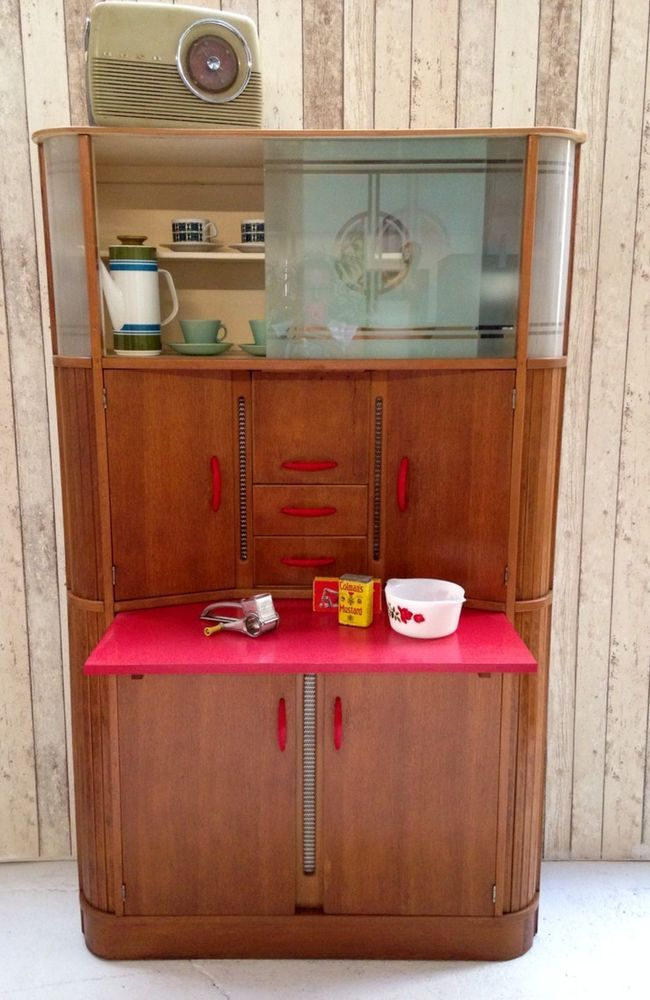 Vintage retro kitchen cabinet larder kitchenette teak 50s for Vintage kitchen units uk