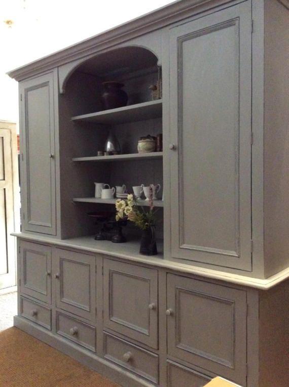 Pino macizo pintado Vintage enorme aparador Gales gran librería gabinete independiente cocina a medida unidad aparador despensa alacena gris