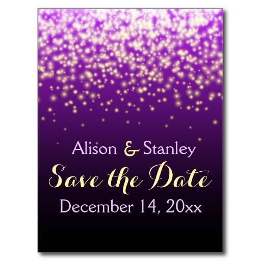 Sparkling lights in the sky wedding purple Save the Date Postcards