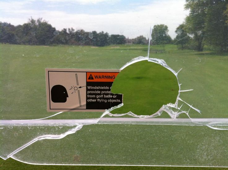Warning: Windshields do not provide protection from golf balls #golfballsunlimited.com