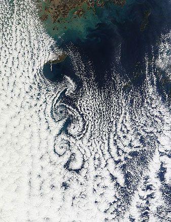 Cloud vortices off Cheju Do, South Korea