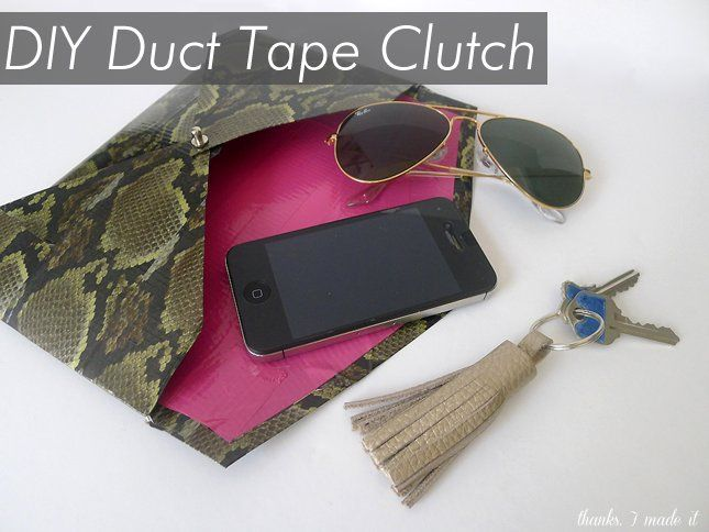 Shut the front door! Can you believe this DIY clutch is made out of duct tape? LOL. I'll never tell. #fashion #DIY #clutch #ducttape  Courtesy of Thanks, I Made It!
