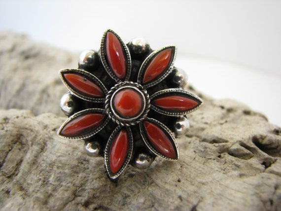 Sterling silver and coral ring sz 7.5 by BijouxaLaCarte on Etsy ~ SOLD~