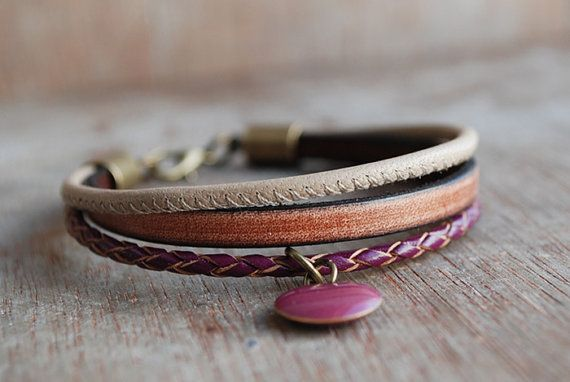 Marsala Oak stackable braided leather bracelet // by picturing