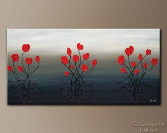 Originales beaux rayons de Tulipes jaunes par AbstractPaintingbyCG