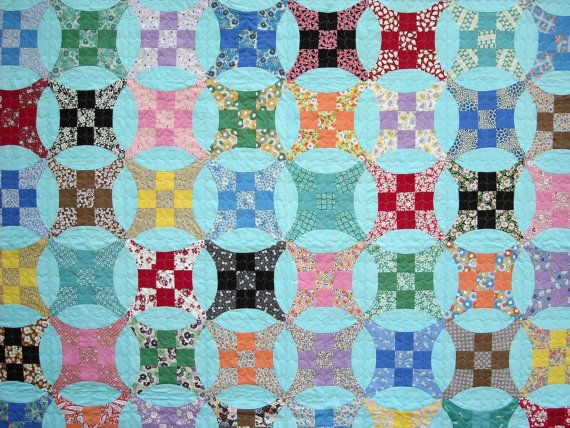 Improved Nine Patch Quilt  Lap Quilt  Authentic 30s by IVANandLUCY