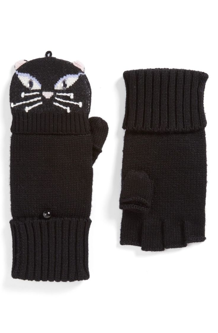 Darling felines with sparkling eyes lend signature kate spade style to chic mittens that transform instantly into fingerless gloves for moments when you need a better grip.