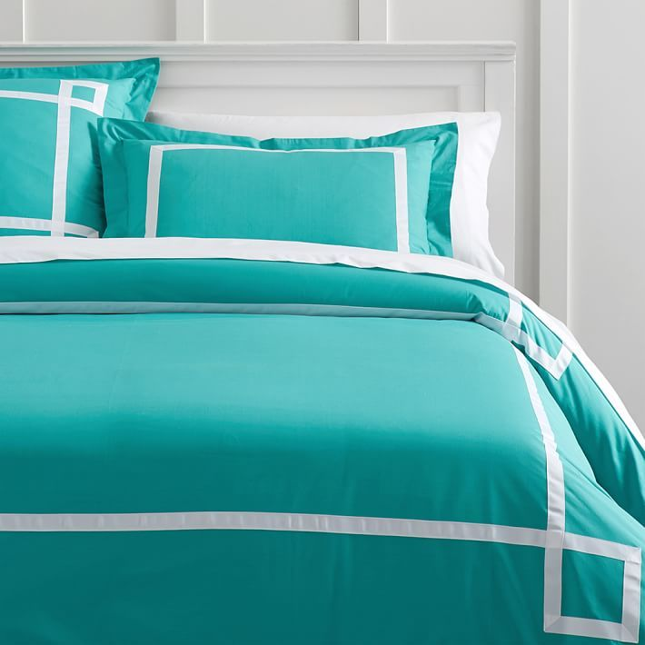 Turquoise Ribbon Trim Duvet Cover + Sham