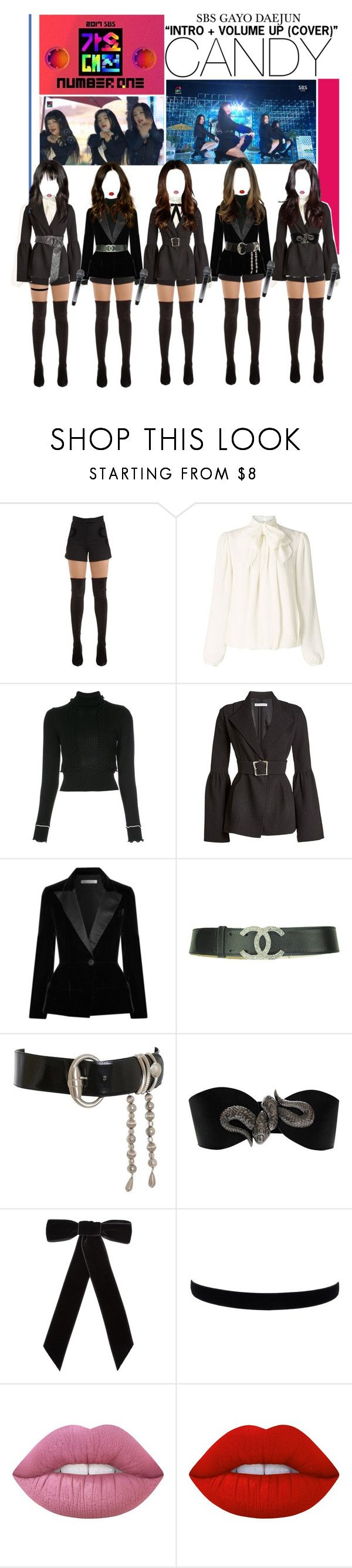 """«CANDY - SBS GAYO DAEJUN»"" by cw-entertainment ❤ liked on Polyvore featuring Elie Saab, Somerset by Alice Temperley, 3.1 Phillip Lim, Rejina Pyo, Oscar de la Renta, Versace, deyatarnofornakedboutique, Jennifer Behr and Lime Crime"