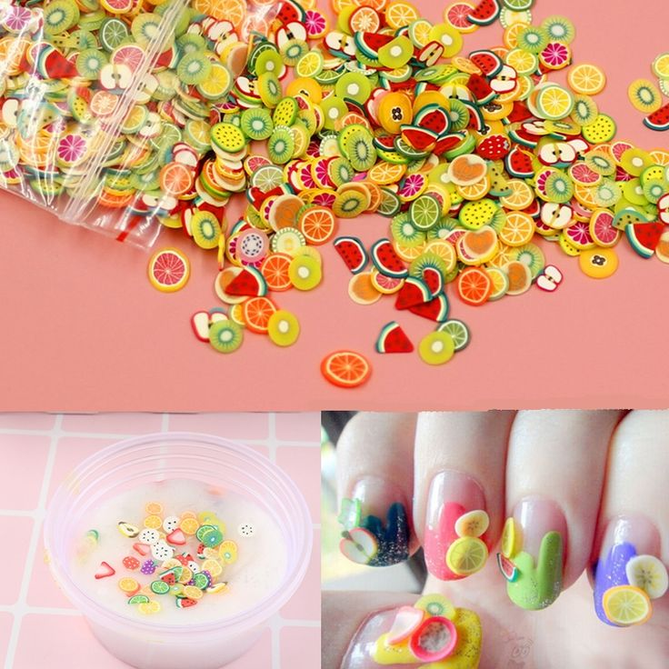 10 Styles DIY Slime Accessories Decor Fruit Polymer Clay Toy Putty Antistress Jelly Mud glue Hand gum Polyer Clay Kids Toys