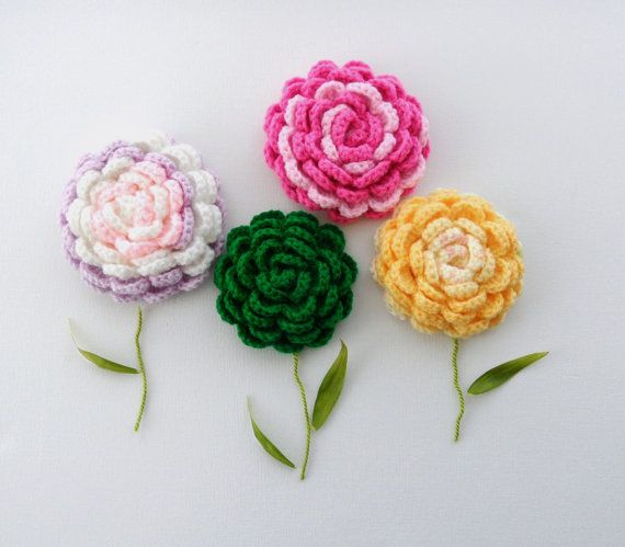Crochet Brooch Corsage Applique Rose Brooch ♡ by CraftsbySigita