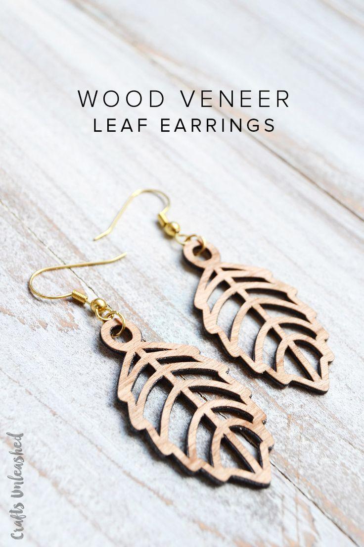 Diy leaf earrings tutorial faux laser cut wood consumer for Wood veneer craft projects