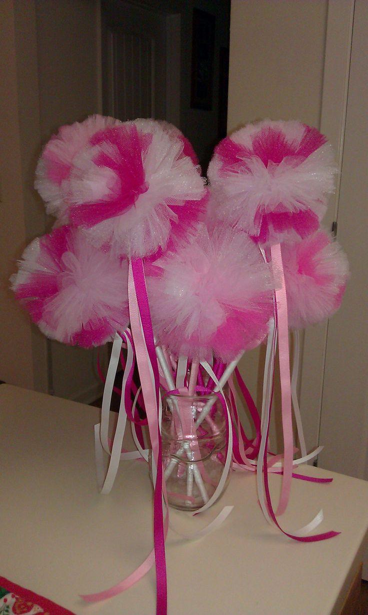 10 Princess Wands / pom pom wand / tulle princess wands / magic fairy wands / by SuperCutieCreations on Etsy