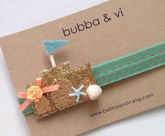 Glitter Hair Clip - Glitter Sandcastle Hair Clip - Sandcastle Hair Clip - Sandcastle Headband, Bubba and Vi on Etsy, $17.79 AUD
