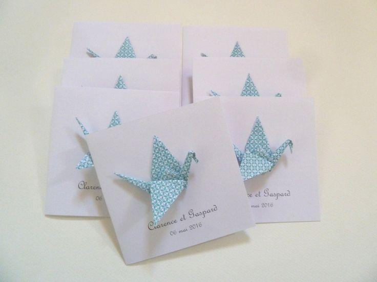 Faire part de baptême ou naissance grue en origami - carte double - bleu / fait-main