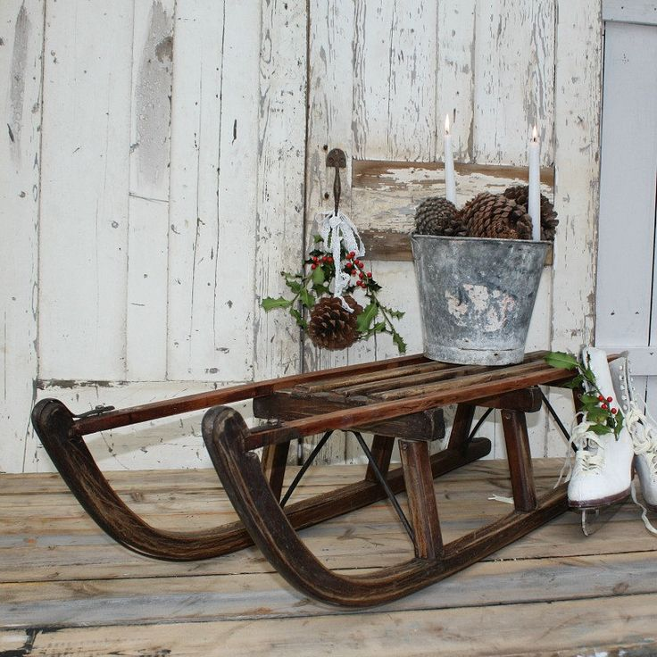 Vintage Solid Wood Sledge - Christmas Decoration by Restored2bloved on Etsy