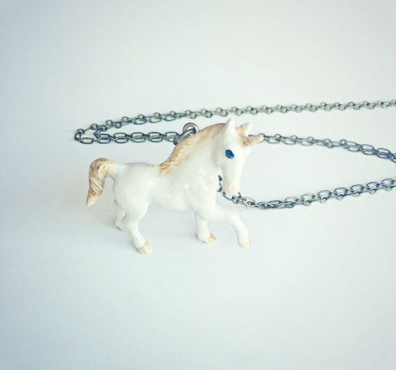 Einhorn Halskette Halskette Pferd Kawaii von alapopjewelry auf Etsy