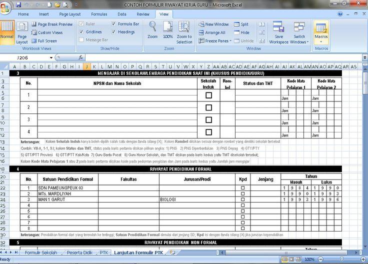 Contoh CV atau Daftar Riwayat Hidup Guru yang Baik dan Benar Terbaru 2016 Format Microsoft Excel