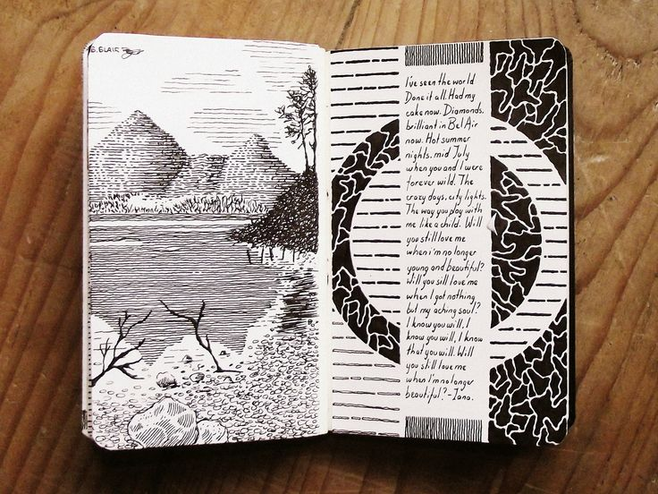 Moleskine #049 heidinote: feeling inspired by the way the page is divided into a vertical tryptic.  the  interplay of the black/white sillouette reversal on the left and right panels.