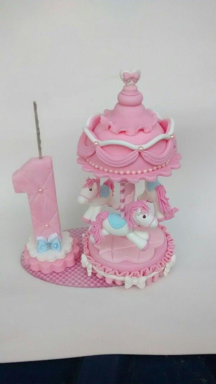 Topo de bolo carrossel encantado rosa
