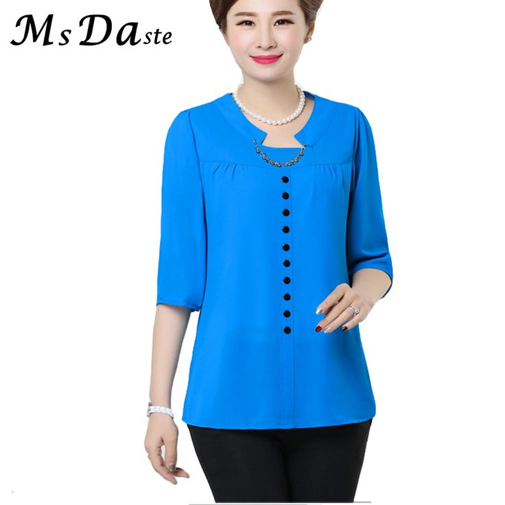 >> Click to Buy << Lady Chiffon Blouse 2017 Summer Casual Women Shirts Tops Femme Garment Female Blusas Mujer Chemise Femme Blue Orange Green L~5XL #Affiliate