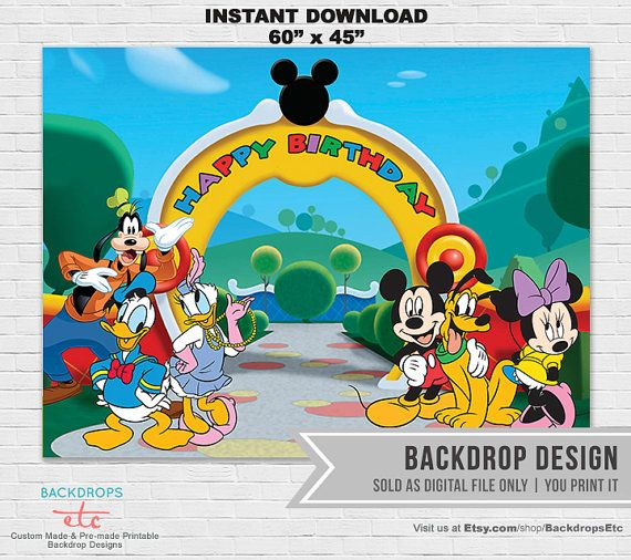INSTANT DOWNLOAD // Mickey Mouse Clubhouse by BackdropsEtc on Etsy