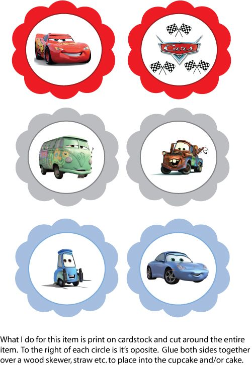 Disney Lightning McQueen Free Cupcake Toppers  Party Decorations.  A big hit with my 3 year old son who is Cars crazy!