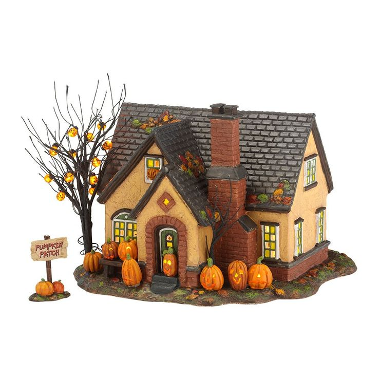 THE PUMPKIN HOUSE: Trick-Or-Treat Lane SeriesDimensions: 6.69in H x 7.87in W x 8.66in L Department 56#: 4030757Item Details2nd in the series, designed for Family Fun Halloween - It was inspired by images of pumpkin festivals with multitudes of carved jack-o-lanterns. Ours are LED lit, but the home owners took it further over the top by adding lit jack-o-lantern lights to the bare branch tree in the yard. The stucco mid-century is at home in any neighborhood and painted a perfect shade of ...