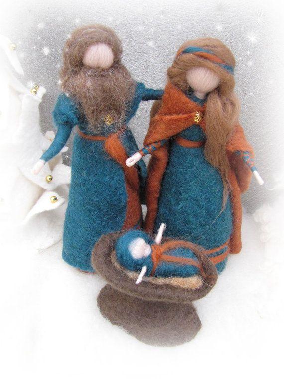 Needle felted and wet felted Nativity Set B felted by LivelySheep
