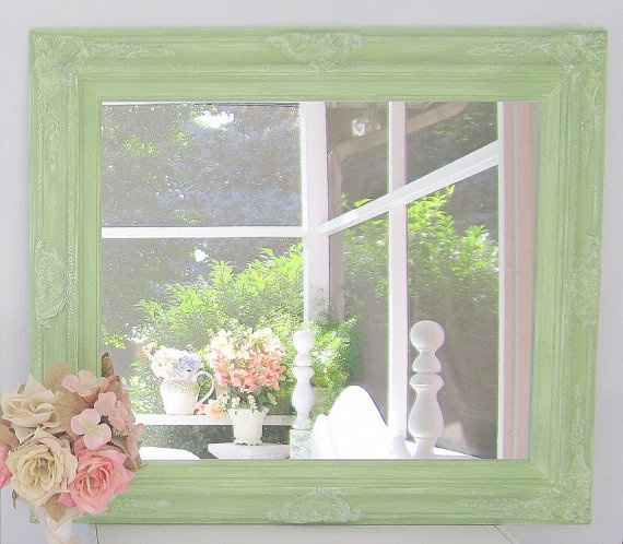 """FRENCH COUNTRY HOME Decor 31""""x27"""" Ornate Mirror Shabby Chic Cottage Green Framed Mirror Vanity Mirror."""