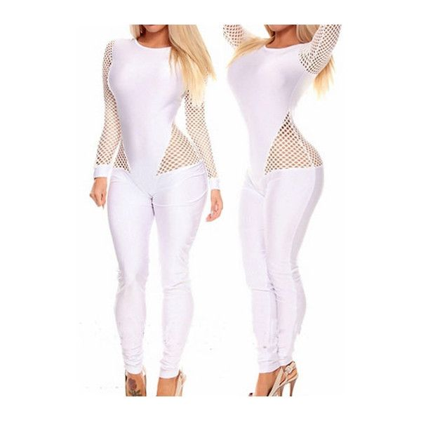 Rotita Round Neck Fishnet Splicing Skinny Jumpsuit ($23) ❤ liked on Polyvore featuring jumpsuits, white, white jumpsuit, patterned jumpsuit, long sleeve jump suit, long sleeve jumpsuit and skinny leg jumpsuit