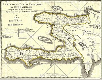 Carte de la partie française de Saint-Domingue