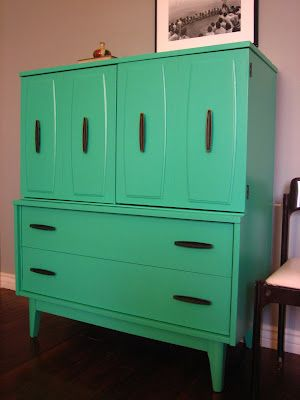 Funky retro green mid-century dresser. Check out the blog for other vintage furniture.