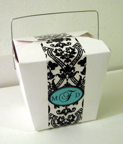 Great For Wedding Favors Chinese Takeout Box Damask Tape And Personalized Stickers