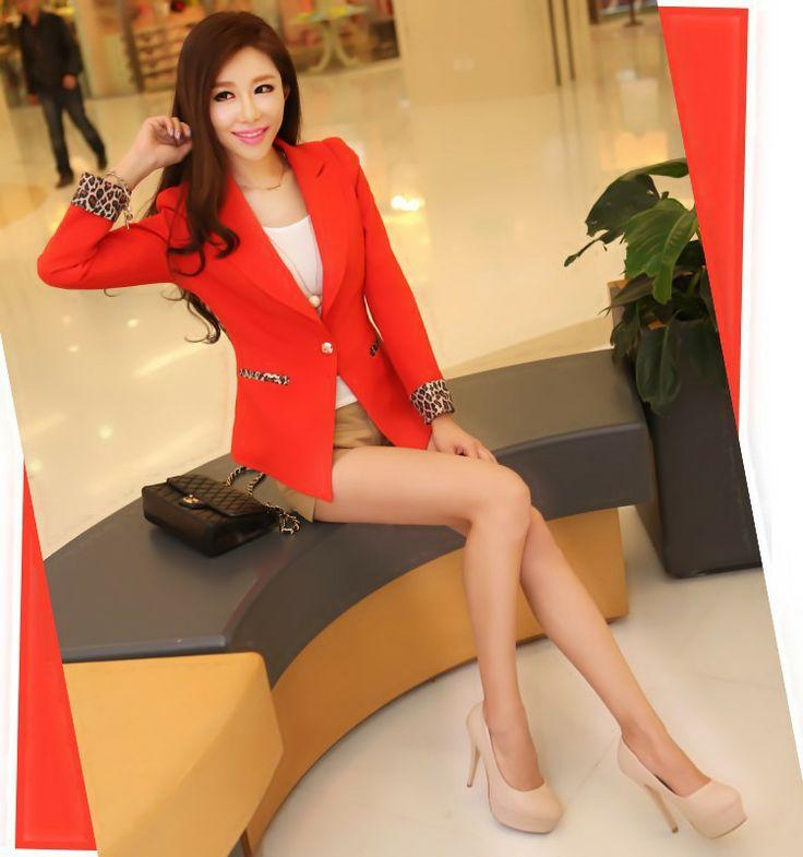 Nueva primavera Leopard manga rojo  Naranja y el color Negro pequeña chaqueta abrigo  Precio:$ 89.900 Talla: S M L XL