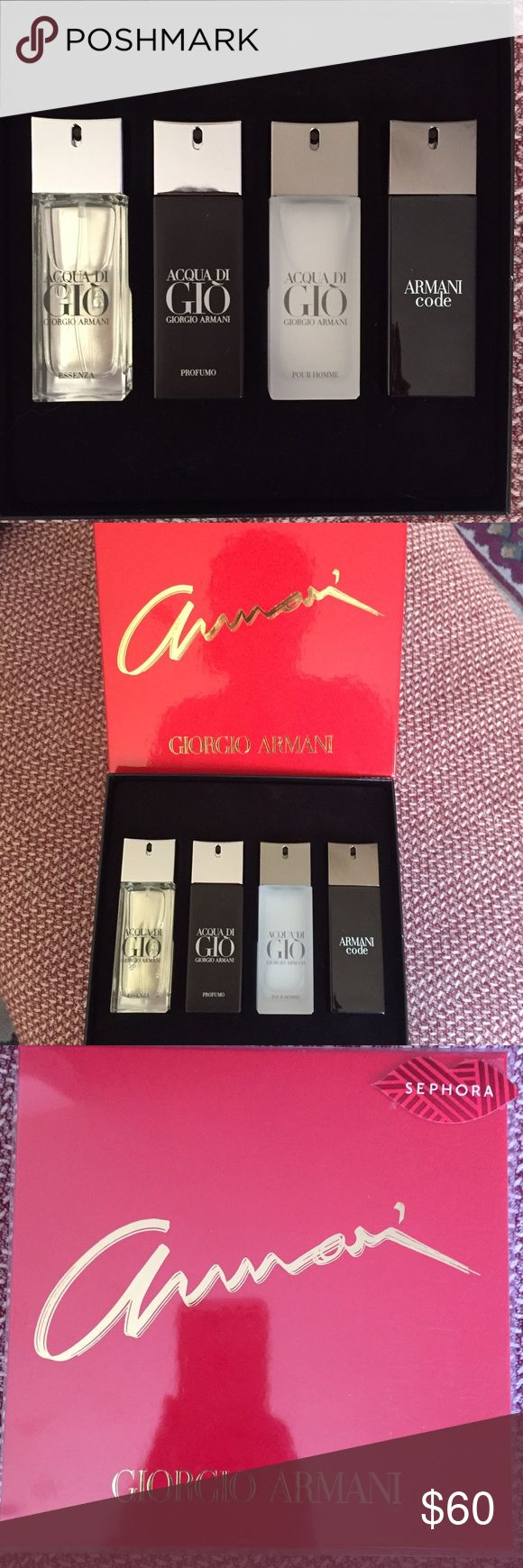 NIB Men's Giorgio Armani Cologne Set NWT NIB never used 4 piece Giorgio Armani Men's colonge gift set from Sephora. An amazing gift or great way to try all of the sexiest smelling colonge. All are 20ml , great for travel. Giorgio Armani Other