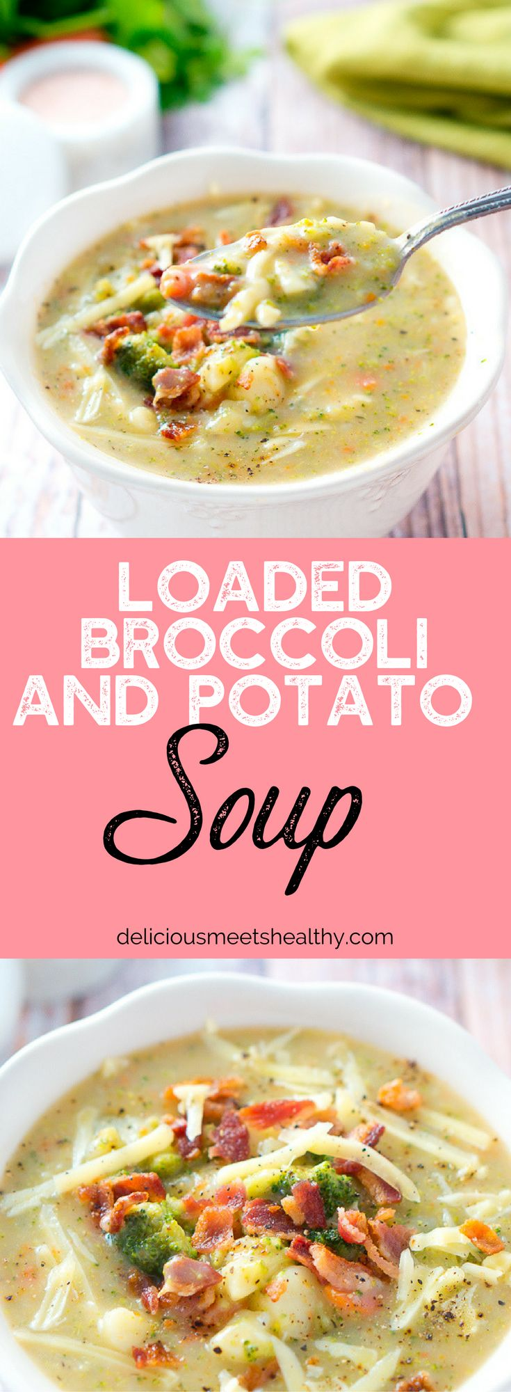 A super simple loaded broccoli and potato soup - a quick light dinner for cold fall and winter nights. Only 30 minutes! It's gluten-free and dairy-free.