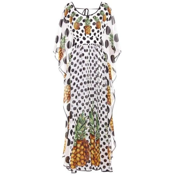 Dolce & Gabbana Printed Silk Kaftan ($2,095) ❤ liked on Polyvore featuring tops, tunics, dresses, midi & long, multicoloured, silk tunic, dolce gabbana top, kaftan tunic, multi color tops and colorful tunics