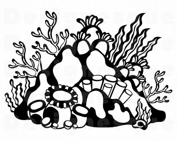 Coral Reef Svg Coral Svg Ocean Svg Tropical Svg Coral Reef Etsy In 2021 Svg Glass Etching Patterns Coral Reef
