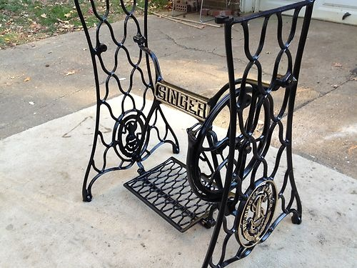 antique singer sewing machine base refurbished cast iron treadle irons sewing and sewing. Black Bedroom Furniture Sets. Home Design Ideas
