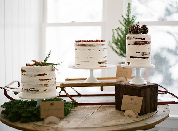 Rustic Winter Wedding Cake Display | Jacque Lynn Photography and Michelle Leo Events | Enchanting Woodland Wedding Shoot with Rustic Winter Details