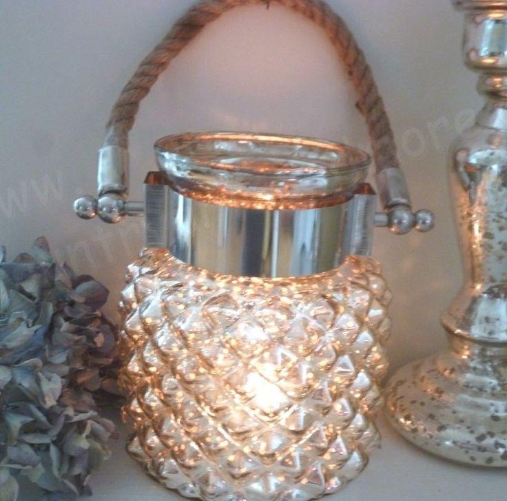 Großes Windlicht  * DIAMOND *  Bauernsilber, Silber, Silberglas, Shabby, 16 cm